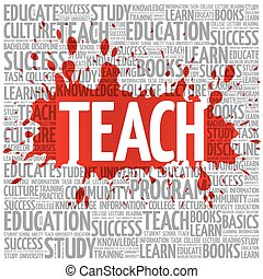 TEACH word cloud, education concept