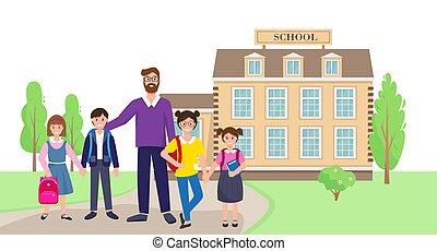 teacher., תלמידים, בית ספר, בנין