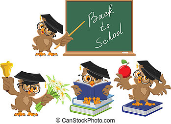 teacher., フクロウ, 学校, セット, 背中