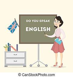teacher., 女性, 英語