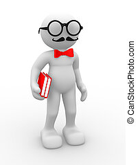 Teacher - 3d people - human character , person with bow tie...