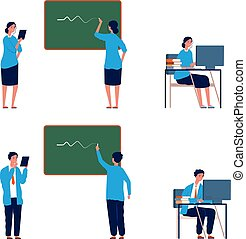Teacher activities. Male female professors, flat college or school lectors. Persons writing on chalkboard, working with computer vector illustration. Teacher education at school or university