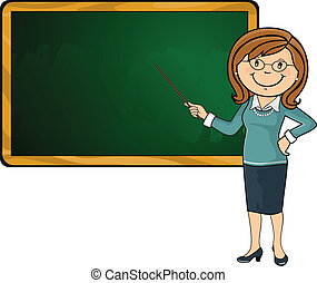 Teacher and blackboard - Teacher with his wand pointing a...