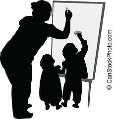 teacher and children writing on boa
