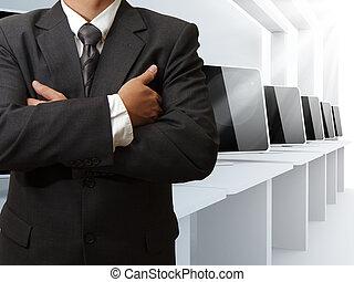 teacher and computer class room