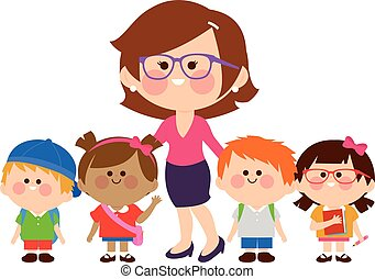 Teacher and group of children students. Vector illustration