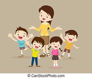 Childrens stand around teacher - Teacher and kids. Childrens...
