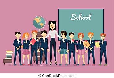 Teacher and Pupils near Chalkboard. Back to School