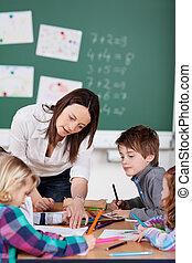 Teacher and pupils - Portrait of teacher helping her pupils...