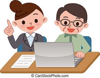 Teacher and senior men and PC