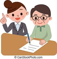 Teacher and senior men
