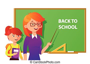 Teacher and student near the blackboard pointing at the place with text. Back to school vector flat illustration in colorful design.