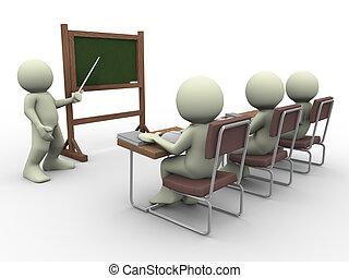 3d render of teacher teaching students in class room
