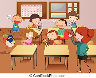Teacher and students at school