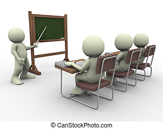Teacher and students - 3d render of teacher teaching...