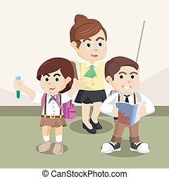 teacher and students illustration design