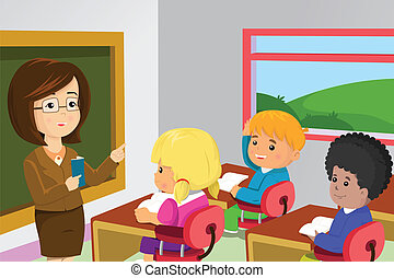 Teacher and students in classroom - A vector illustration of...