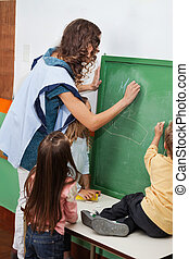 Teacher And Students Writing On Chalkboard In Classroom