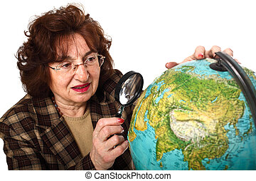 teacher and world map