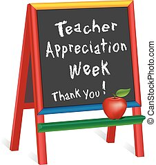 Teacher Appreciation Week sign, annual American holiday 1st week of May, red apple, chalk text on multi color wood easel, thank you for preschool, daycare, nursery school, kindergarten. Isolated on white background. EPS8 compatible.