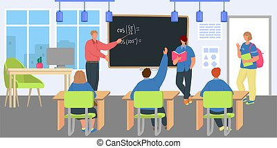 Teacher at lesson, student children study for education, vector illustration. School class with blackboard for boy girl child character.