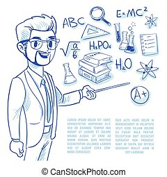 Teacher at the blackboard and education doodle icons. back to school hand drawn vector concept