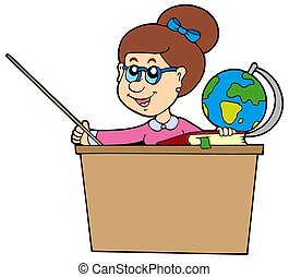 Teacher behind the desk - isolated illustration.