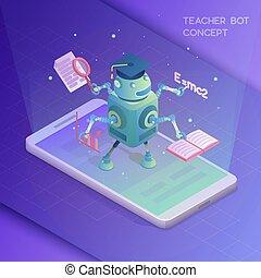 Teacher bot concept. Artificial intelligence. Isometric...