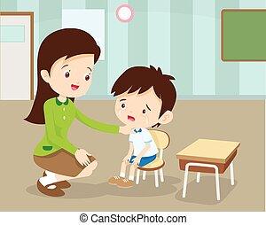 Teacher Comforting Her Crying student - Woman teacher ...