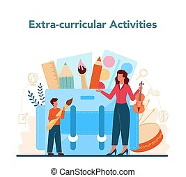 Teacher concept. Profesor planning curriculum, meeting parents. School or college workers. Idea of education and knowledge. Isolated flat vector illustration