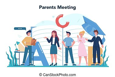 Teacher concept. Profesor standing in front of the blackboard School or college workers with professional discipline tools. Idea of education and knowledge. Isolated flat vector illustration