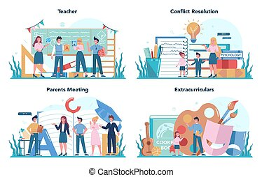 Teacher concept set. Profesor standing in front of the blackboard School or college workers with professional discipline tools. Idea of education and knowledge. Isolated flat vector illustration
