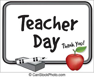 Teacher Day, Thank You! Whiteboard, Apple