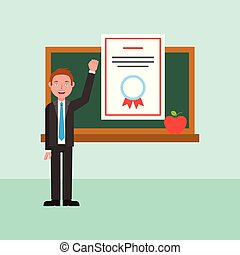 learning online education - teacher diploma and chalkboard...