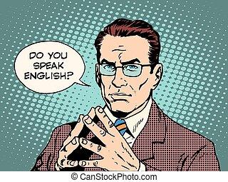 Teacher do you speak English pop art retro style. The ...