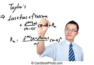 young teacher drawing a Mathematical formula