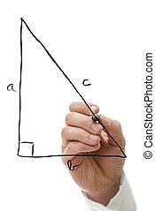 Teacher drawing right triangle on virtual whiteboard explaining Pythagorean theorem.