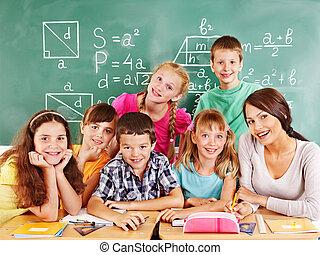 teacher., escuela, niño