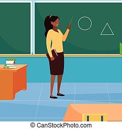 teacher female black in classroom with chalkboard