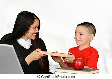 Teacher handing a book