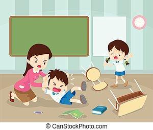 teacher handle angry boy in class