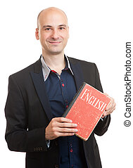 teacher holding a book. english learning concept