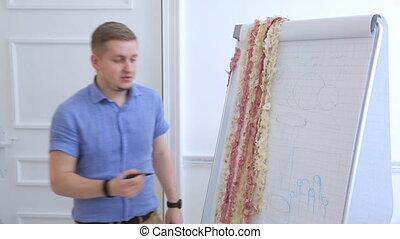 Teacher holds seminar in white workshop for beginners in design