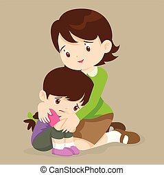 Teacher hugs comfort girl - sad children wants to embrace. ...