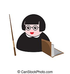 teacher icon with a pointer and a book on a white isolated background. Vector image of cartoon