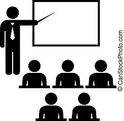 Teacher icon with pointer