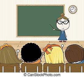 teacher in class room - cartoon illustration of teacher and ...