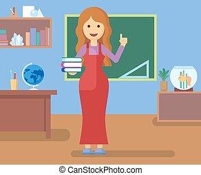 Teacher in class room.