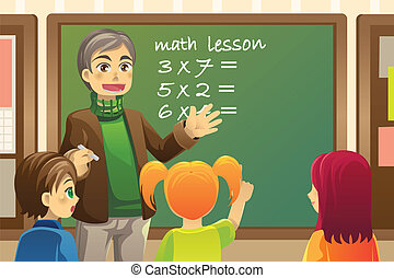 Teacher in classroom - A vector illustration of a teacher...