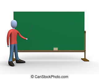 Teacher in front of a blackboard.